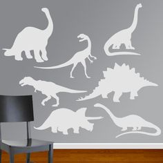 Boys Room Dinosaur Vinyl Wall Decal Set. $25.00, via Etsy.