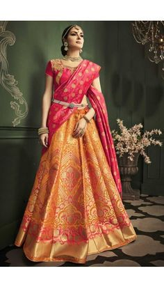 Mustard Banarasi Silk Lehenga With Art Silk Choli - DMV11916