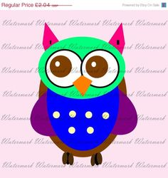 60% OFF SALE Clip art KP48-Rainbow Owl  by KnowPressClipart