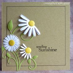 love the half-daisy idea! I think I have some cricut flowers that this same idea would work with, or even purchased sticker flowers. Great thinking of you card or even Happy Birthday. Cool Cards, Diy Cards, Quilling, Tarjetas Diy, Karten Diy, Get Well Cards, Card Tags, Paper Cards, Flower Cards