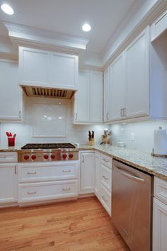 Daniels Design and Remodeling, Northern Virginia, Kitchen remodel, hardwood floors, white cabinets, granite countertops, white countertops, white backsplash, home remodel