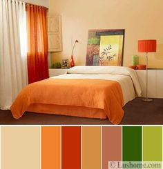 22 Beautiful Bedroom Color Schemes: 5 Beautiful Orange Color Schemes To Spice Up Your Interior Relaxing Bedroom Colors, Bedroom Wall Colors, Bedroom Color Schemes, Bedroom Decor, Modern Bedroom, Master Bedroom, Orange Rooms, Bedroom Orange, Orange Color Schemes