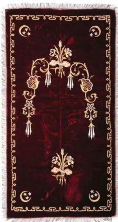 Embroidered 'seccade' (prayer carpet). 'Goldwork' in gold and silver (Maraş işi) and thin metallic spiral threads, on velvet. Ca. 1900.