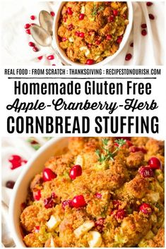 Looking for the best homemade cornbread stuffing? Recipes to Nourish has a delicious Gluten Free Apple-Cranberry-Herb Cornbread Stuffing that's perfect for Thanksgiving and holiday menus! Gluten Free Stuffing, Gluten Free Cornbread, Homemade Cornbread, Stuffing Recipes, Gluten Free Recipes Side Dishes, Healthy Gluten Free Recipes, Foods With Gluten, Real Food Recipes, Yummy Food