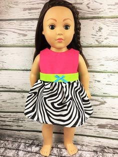 18 Girl Doll Clothes Zebra Pink Doll Dress by sassydollcreations