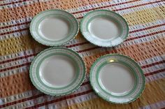 Vintage Set British Anchor Cottage Green – 4 Tea / Side Plates – Retro! – (06/28/2012) plates measure 7 ½ inches across