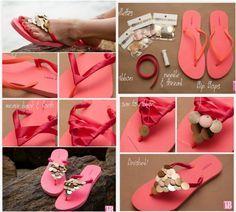 pinkfarbene Flip-Flops mit Band und Pailetten aufpeppen