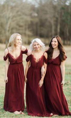 Burgundy Long Chiffon Bridesmaid Dress Party Dress