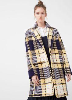 Check wool-blend coat - Coats for Woman | MANGO USA