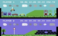 Kikstart: Off-Road Simulator Commodore 64 Jumping over buses and cars
