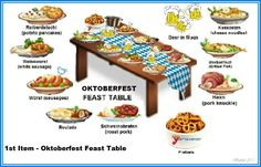 September World Holidays: Oktoberfest decoration & foods. Oddly, perhaps, Octoberfest is usually observed in late September rather than October.
