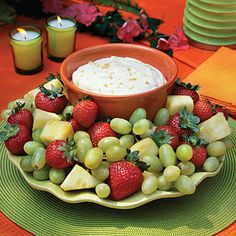 Brown Sugar Fruit Dip     This simple, creamy dip is the perfect way to dress up fresh summer fruit. We like it for dipping grapes, strawberries, and pineapple, but it tastes just as good with any fruit. Serve for breakfast, a snack, appetizer, dessert, or all of the above.