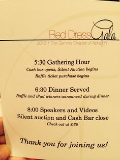 Program used at Gamma/DePauw's Red Dress Gala in Oct. 2013