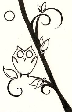 Owl and moon drawing for Mother's Day Black and white. ginaleecincotta@gmail.com Custom tattoo