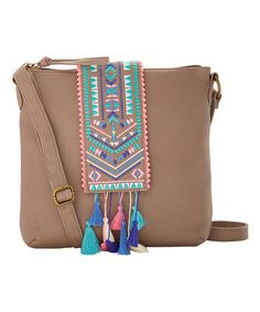 Another great find on #zulily! Taupe Geometric Tassel Crossbody Bag #zulilyfinds