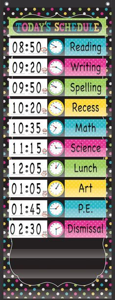 "Chalkboard Brights 14 Pocket Daily Schedule Pocket Chart - These lightweight and durable pocket charts feature colorful designs and hang easily from sturdy, metal grommets. Includes 16 blank write-on/wipe-off schedule cards. Measures 13"" x 34""."