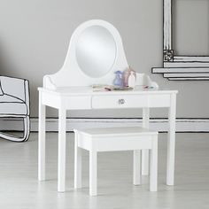 Make for Olivia ... The Land of Nod | Kid's Vanity: Girl's Vanity and Bench in Nod Exclusives