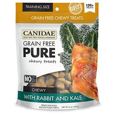 CANIDAE Grain Free PURE Chewy Dog Treats with Rabbit & Kale, 6 oz.