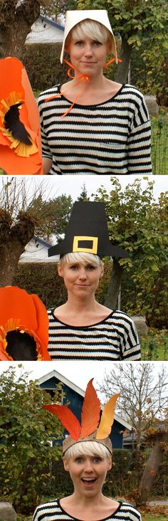 great diy Thanksgiving hats. We did this in elementary school. :) I'm doing this - there will be forced participation