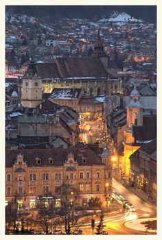 Nightfall In The City, a photo from Brasov, East Beautiful Places To Visit, Oh The Places You'll Go, Cool Places To Visit, Brasov Romania, Famous Castles, Tourist Places, Bucharest, Paris Skyline, Wanderlust