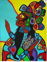"""Iconic Canadian Painter, Norval Morrisseau's """"Shaman with Sacred Corn"""" Canadian Painters, Canadian Artists, Classe D'art, Native Canadian, Woodland Art, Inuit Art, Les Religions, Native American Artists, Indian Artist"""