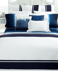 Navy and white bedding - ignore the tie-dye craziness!