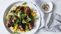 Teriyaki-glazed eggplant with creamed corn and cucumber and wakame salad