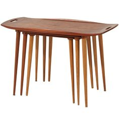 Rare set of nesting table  by Jens Quistgaard | From a unique collection of antique and modern nesting tables and stacking tables at http://www.1stdibs.com/furniture/tables/nesting-tables-stacking-tables/