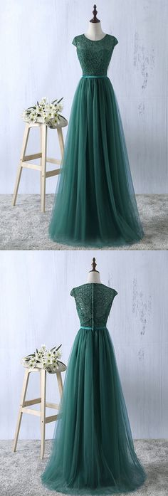 New Arrival A-Line Round Neck Cap Sleeves Long Prom Dress