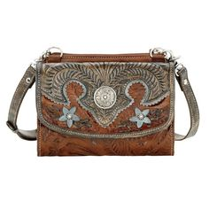 American West Desert Wildflower Small Bag Wallet Combo Brown/Blue