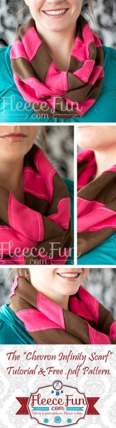 Schal nähen This chevron scarf pattern has a lot of possibilities! You can make an infinity scarf with a trendy chevron pattern! Sewing Hacks, Sewing Tutorials, Sewing Crafts, Sewing Projects, Sewing Ideas, Fleece Projects, Sewing Tips, Craft Projects, Sewing For Kids