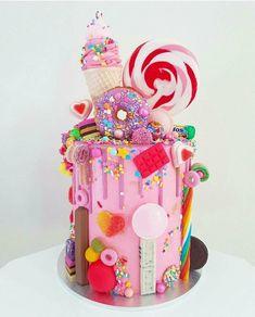 Candy Birthday Cakes, Candy Cakes, Birthday Cake Girls, 16th Birthday, Beautiful Birthday Cakes, Beautiful Cakes, Amazing Cakes, Pretty Cakes, Cute Cakes