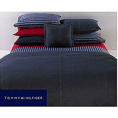 @Overstock - This All American denim comforter from Tommy Hilfiger is constructed of 100-percent cotton. This comforter showcases a somewhat dark blue denim and features double-stitched detail in a cross pattern.  http://www.overstock.com/Bedding-Bath/Tommy-Hilfiger-Twin-size-All-American  FOR KIDS ROOM
