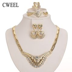 Cweel hochzeit zubehör neue afrikanische perlen schmuck sets für frauen partei vergoldet nachgeahmt kristall anhänger halskette ohrringe