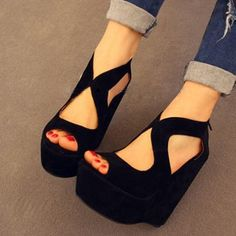 Wholesale free shipping hot selling womens 2013 wedges platform open toe zip sexy casual high heeled sandals shoes-inPumps from Shoes on http://Aliexpress.com $17.90