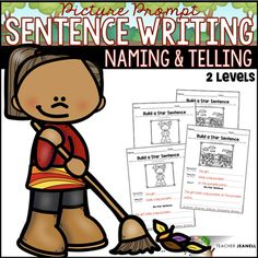Fall Sentence Structure - Naming and Telling Parts of a Sentence Parts Of A Sentence, Sentence Structure, Sentence Writing, Writing Prompts, Teaching First Grade, First Grade Classroom, Complete Predicate, Describing Words