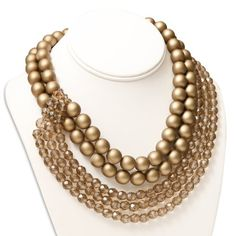 Champagne Bronze Pearl and Crystal Bead Coppola e Toppo Necklace