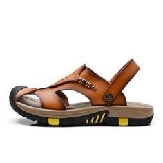 New Summer Shoes Men's Leather Sandals Brown Casual Beach Sandals Slippers Flat Fashion Design Sandals Men Shoes