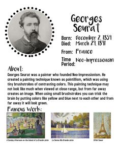 At home art lessons for kids. Georges Seurat art projects for kids. Art history for kids. Home school art lessons. Art History Timeline, Art History Lessons, Art Education Lessons, History For Kids, Art Lessons For Kids, Art For Kids, Art Timeline, Music Lessons, Health Education