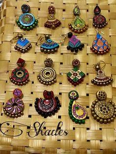 variety of earrings in terracotta Terracotta Jewellery Making, Terracotta Jewellery Designs, Terracotta Earrings, Copper Earrings, Handmade Beads, Handmade Jewelry, Teracotta Jewellery, Biscuit, Funky Jewelry