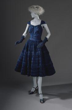 Woman's Dress | LACMA Collections Eleanora Garnett (United States, first half of 20th century) circa 1949 Costumes; principal attire (entire body) Silk plain weave (taffeta), pleated