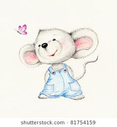 Cute Mouse On White Background Stock Illustration 81754159 Mouse Illustration, Cute Animal Illustration, Cute Drawings, Animal Drawings, Cute Images, Cute Pictures, Nursery Drawings, Baby Painting, Cute Rats