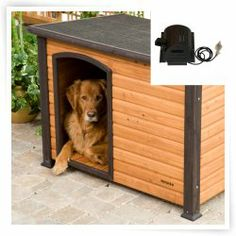 Precision Extreme Outback Log Cabin Dog House with cooling fan