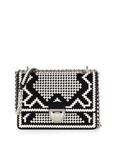 L0NP3 Prada Woven Madras-Pattern Shoulder Bag, Black/White (Nero+Bianco)