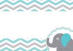 Convite Elefantinho Chevron Cinza e Azul Turquesa 7 Elephant Baby Showers, Baby Elephant, Dibujos Baby Shower, Baby Canvas, Baby Shower Invitaciones, Baby Shawer, Bunting Flags, Borders For Paper, Binder Covers