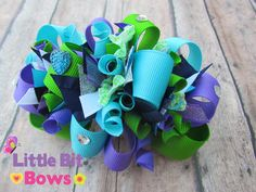 Aqua Purple and Apple Green Boutique Funky Bow by LittleBitBows, $11.99