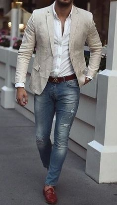 fashion menswear outfits Denim sweater mens men shirt hoodie wear style fashstop tracksuit vans converse street fash stop jeans ripped jeans denim shirts jacket hoodie boots tee Shorts Summer abs gym workout Trajes Business Casual, Business Casual Men, Men Casual, White Shirt And Jeans, Blazer With Jeans, Ripped Jeans, Blazer Outfits Casual, Stylish Mens Outfits, Beige Blazer Outfit