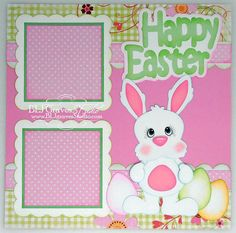 Premade Scrapbook Page Paper Piecing Happy Easter Bunny BLJgraves Baby Girl Scrapbook, Baby Scrapbook Pages, Bridal Shower Scrapbook, Scrapbook Page Layouts, Scrapbook Designs, Scrapbook Sketches, Scrapbook Paper Crafts, Scrapbook Cards, Scrapbooking Ideas