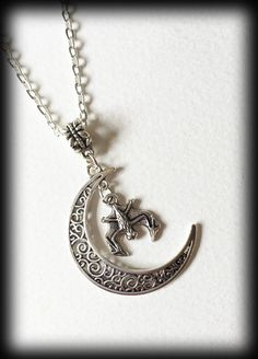Gothic Wiccan Crescent Moon Filigree Necklace with Bat - Antique Silver - Witchy by WhisperToTheMoon on Etsy