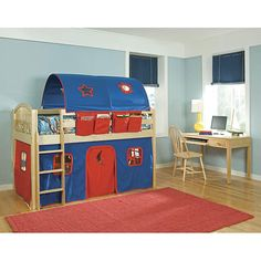 Give your child a place to play and hide away in a fort of their own while keeping them from dragging out blankets and chairs for a tent with this tent loft bed for kids. This twin-size loft bed has a 'fort' below and a tent above the bed. Kids Bed Tent, Bunk Bed Tent, Toddler Tent, Kids Bunk Beds, Twin Size Loft Bed, Low Loft Beds, Contemporary Bunk Beds, Red Curtains, Kids Corner